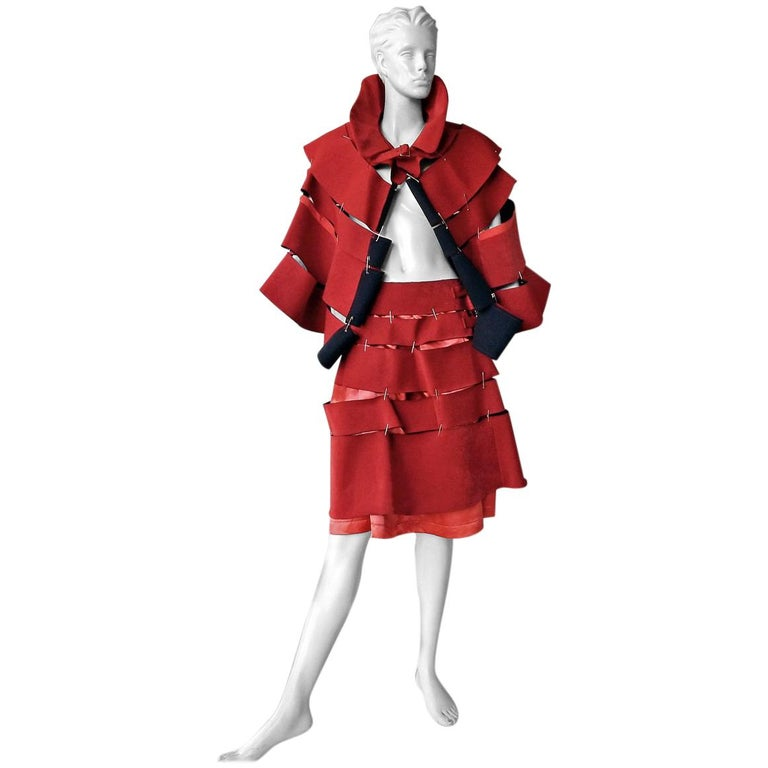 Comme des Garcons 2015 Roses & Blood Explosive Poppy Red Safety-Pin Cape & Skirt For Sale