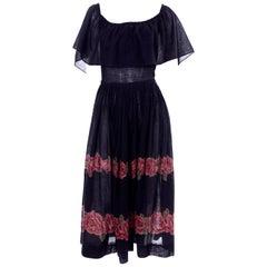 Vintage Albert Nipon Black Off Shoulder Cotton Voile Dress With Red Rose Print