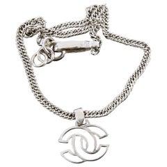 Chanel Vintage 96A Silvertone CC Logo Pendant Chain Necklace