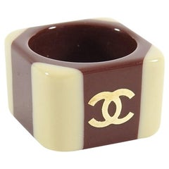 Chanel 01A Brown and Beige Two-Tone CC Acrylic Statement Ring