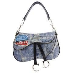Christian Fall 2001 Dior Blue Denim Printed Double Saddle Bag