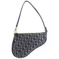Christian Dior Blue Monogram Canvas Mini Saddle Bag