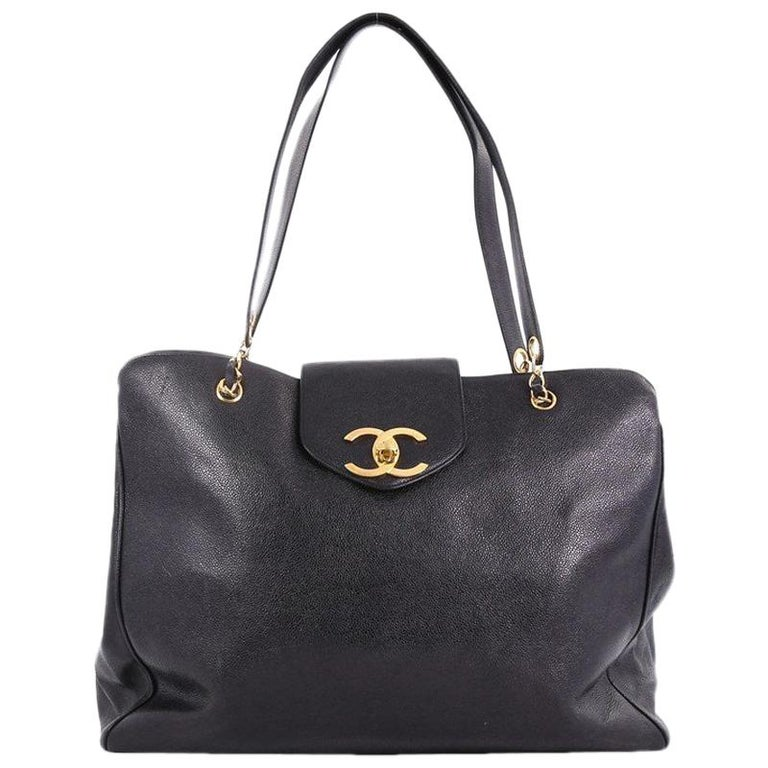 2f7a67a885592f Chanel Vintage Supermodel Weekender Bag Caviar Large For Sale at 1stdibs