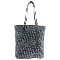 Christian Dior Blue Monogram Canvas Saddle Tote Bag