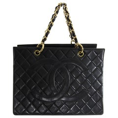 Chanel Vintage 1996 Black Lambskin Quilt Leather CC Tote Bag 7e37c6a8fbcf2