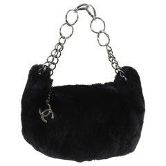 Chanel Black Fur Small Pochette Bag with CC Charm