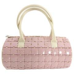 Chanel Pink and Ivory CC Logo Resin Tile Barrel Bag