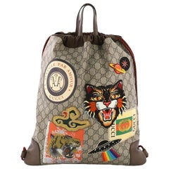 Gucci Courrier Soft Drawstring Backpack GG Coated Canvas with Applique Medium