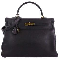 Hermes Kelly Handbag Noir Swift with Gold Hardware 35