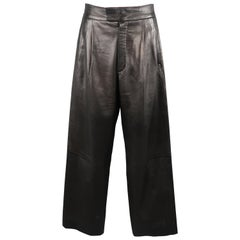 Men's GUCCI by TOM FORD Size 31 Black Pleated Leather 32 Wide Leg Dress Pants