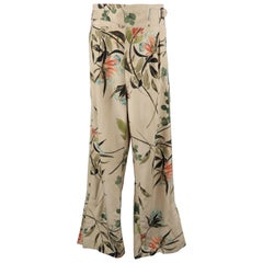 Men's GUCCI by TOM FORD Size S Khaki Floral Silk Pleated Trousers / Pants