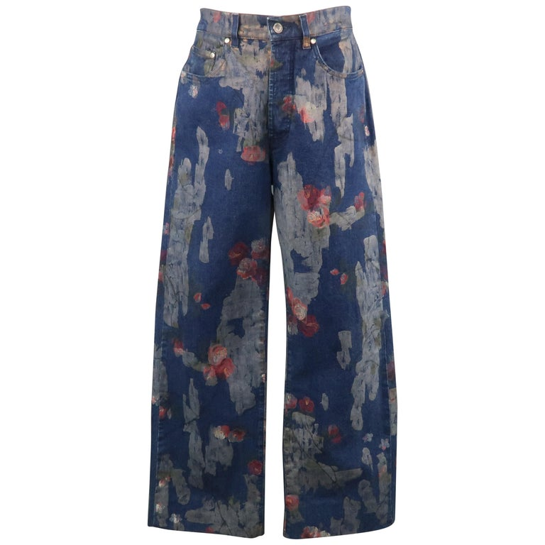 eeca242be3 Men's GUCCI by TOM FORD Size 30 Blue Floral Print Denim Wide Leg Jeans