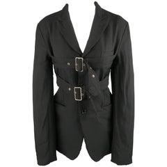 COMME des GARCONS L Black Wrinkle Polyester Belted Chest Jacket