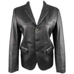 COMME des GARCONS S Black Perforated Faux Leather Notch Lapel Blazer