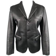 COMME des GARCONS S Black Perforated Faux Leather Notch Lapel Blazer