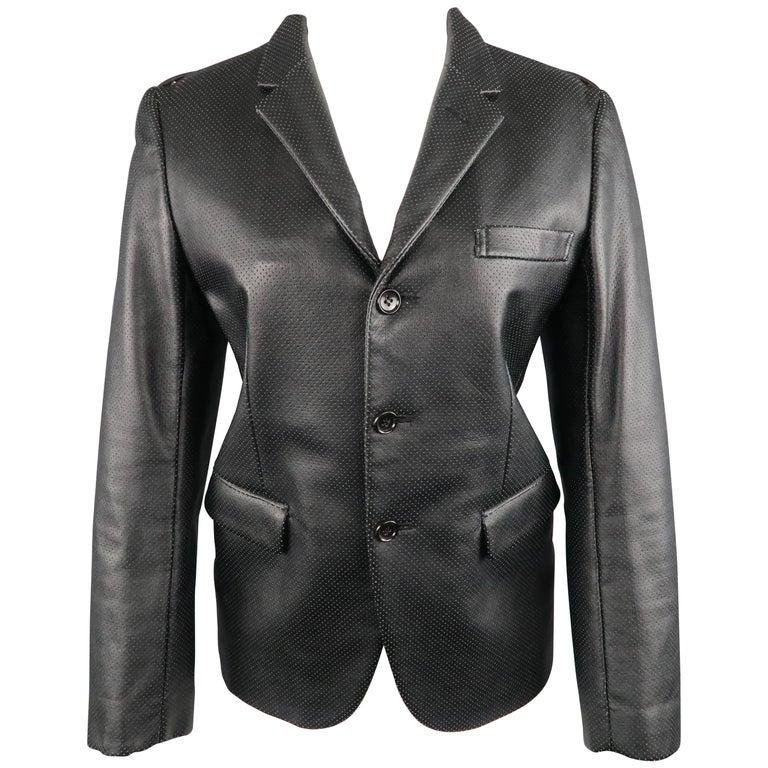 COMME des GARCONS S Black Perforated Faux Leather Notch Lapel Blazer For Sale