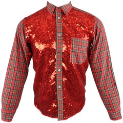 COMME des GARCONS Size XS Red Plaid Cotton Sequin Front Button Up Shirt