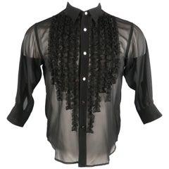 COMME des GARCONS Size XS Black Chiffon Ruffle Three Quarter Sleeve Shirt