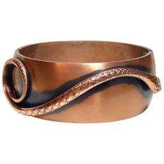 Mid-Century Whiting & Davis Copper Snake Hinged Bangle