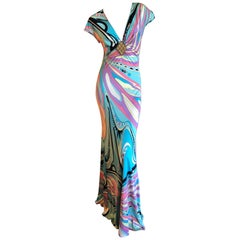 Emilio Pucci Wonderful Low Cut Embellished Silk Jersey Evening Dress Size 6