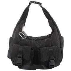 Chanel Sport Line Double Pocket Shoulder Bag Quilted Nylon Medium