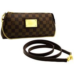 Louis Vuitton Eva Ebene Damier Canvas Shoulder Bag Handbag Gold