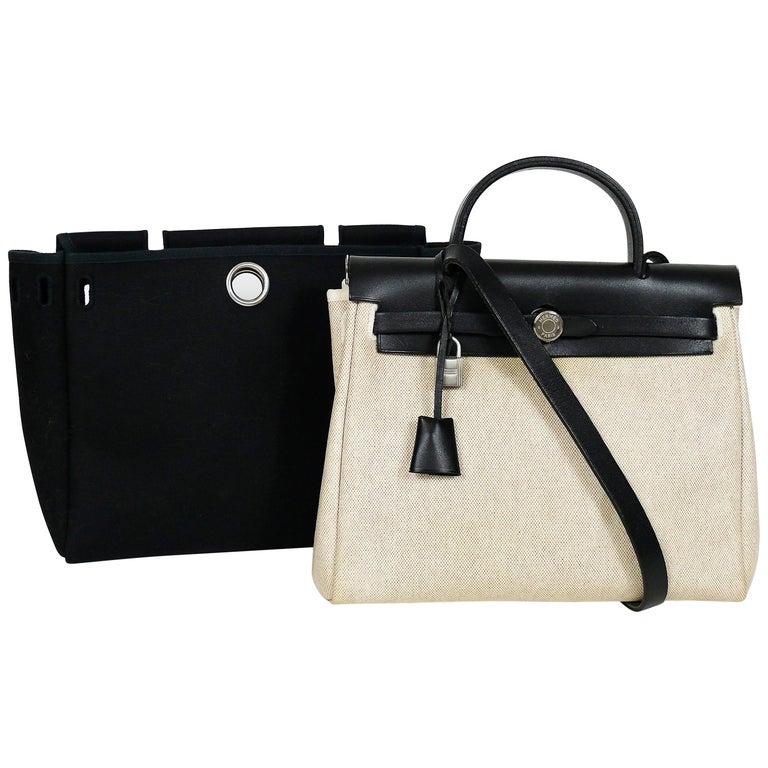 226d6385d6e6 Hermes Herbag PM 2 in 1 Canvas Black Leather Shoulder Bag For Sale ...