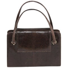 Unique Italian Chocolate Brown lizard 60s Bag Excellent condition