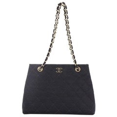 Chanel Vintage CC Chain Tote Quilted Fabric Medium