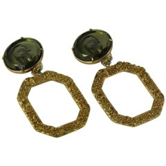 Bronze Earrings with carved and cut Green Murano glasses