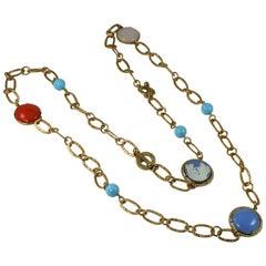 Bronze necklace with inserts Murano glass cut cabochon by Patrizia Daliana