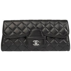 2014 Chanel Black Quilted Lambskin Classic Clutch