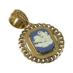 Bronze pendant with an authentic insert of Wedgwood Jasperware