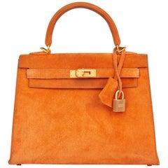 2004 Hermes Orange H Veau Doblis Kelly 25cm Sellier