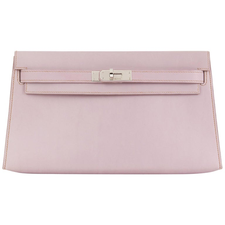2001 Hermes Lilac Box Nepal Leather Kelly Longue Clutch For Sale