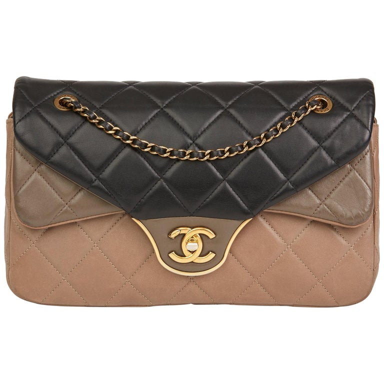 81025a16279ffb 2015 Chanel Black, Brown & Taupe Lambskin Tri-Colour Double Flap Bag For  Sale.