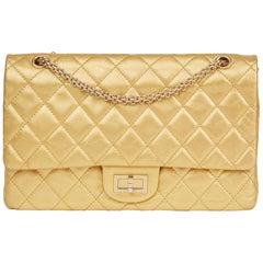 2007 Chanel Gold Aged Metallic Calfskin 2.55 Reissue 227 Double Flap Bag