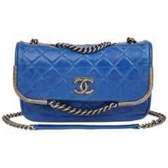 2014 Chanel Electric Blue Quilted Aged Calfskin Leather Single Flap Bag