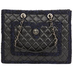2015 Chanel Black Aged Quilted Calfskin & Navy Tweed Grand Shopping Tote GST