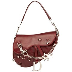 81bfd12904d 2004 Christian Dior Burgundy Smooth Calfskin Hardcore Piercing Saddle Bag