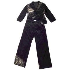 Yohji Yamamoto + Noir Bleached Cotton Velvet Two Piece Pants Suit