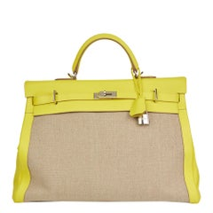 2018 Hermes Lime Evercolour Leather & Ficelle Toile Kelly Voyage 50cm