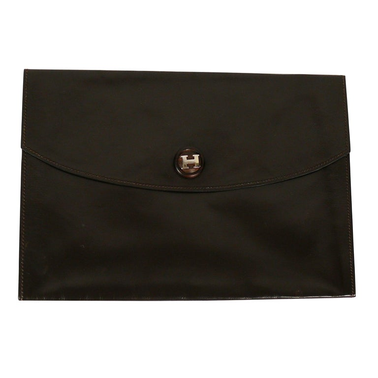 Hermes Vintage Brown Leather H Clasp Rio Clutch Bag For Sale