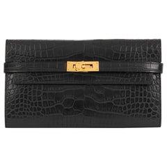 2017 Hermes Black Matte Mississippiensis Alligator Leather Kelly Long Wallet