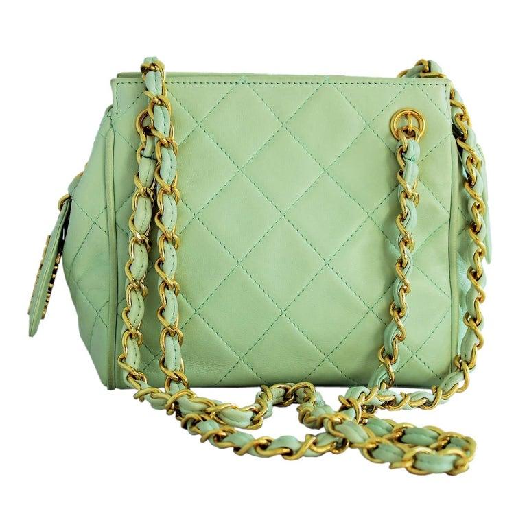 6c4ca544ef0f73 Vintage Chanel Mint Green Mini Bag For Sale at 1stdibs