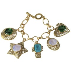 Charm bronze bracelet with carved Murano glass inserts.