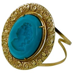 Rigid Bronze Bracelet with Turquoise Murano paste glass insert Hand-carved