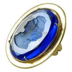 Bronze Ring with Blue Murano glass carved and cut by hand.
