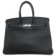 Hermes Black Birkin 35 in Togo with Palladium