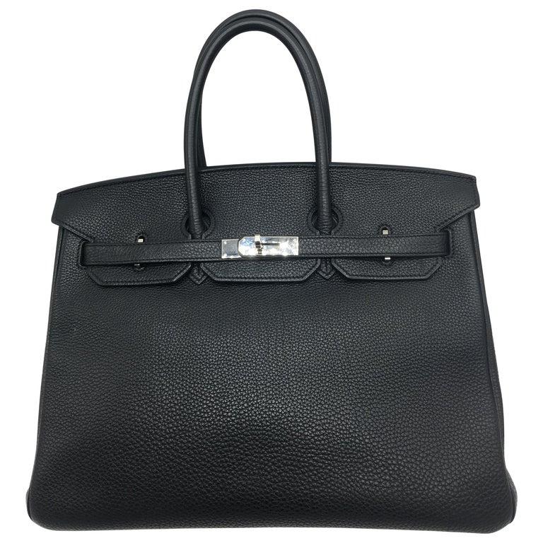 Hermes Black Birkin 35 in Togo with Palladium For Sale